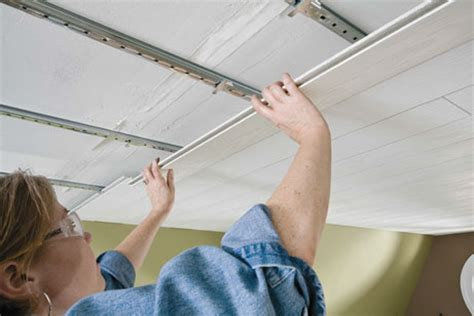 How To Put Up A Ceiling by Prefinished Ceiling Planks Work Equally Well As Wall
