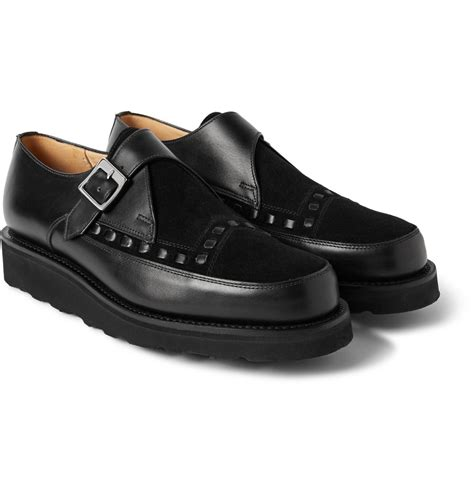grenson leather and suede monk shoes in black for