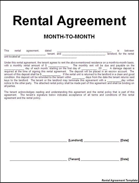 rental agreement template printable sle rental lease agreement templates free