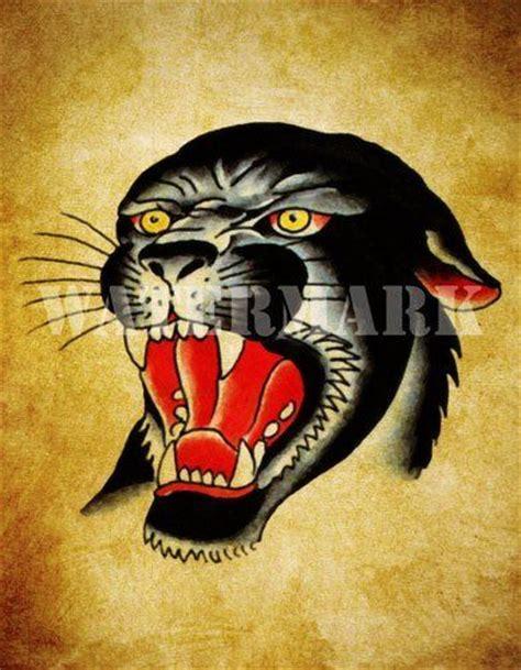 old school tattoo new zealand black panther old school tattoo flash art print 8 5 x 11