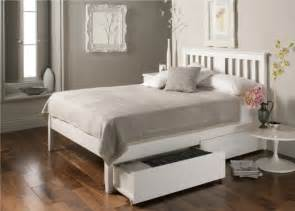 White Wood Bed Frame Uk Malmo White Wooden Bed Frame On Trend For Less Get The