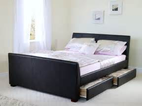 Bed Frames With Storage Drawers Home Decorating Pictures Leather Beds With Drawers