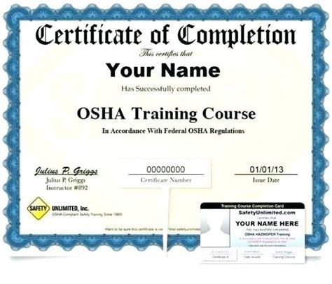 osha 10 certificate template osha 10 certificate template
