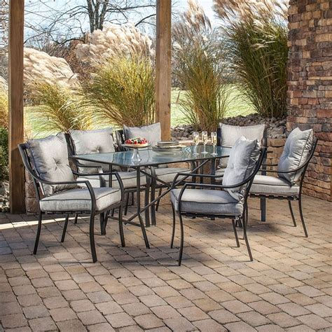 Patio Dining Furniture Sets Shop Hanover Outdoor Furniture Lavallette 7 Minuit Glass Patio Dining Set At Lowes