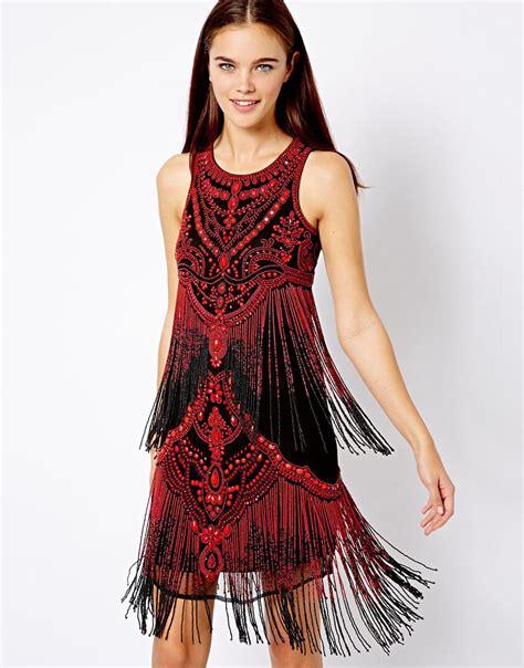 beaded fringe dress asos river island beaded fringe dress in lyst