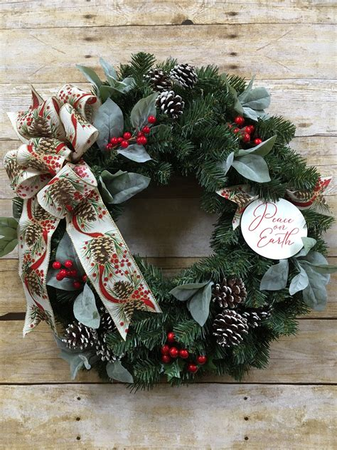 holiday wreath front door christmas decor white pinecone