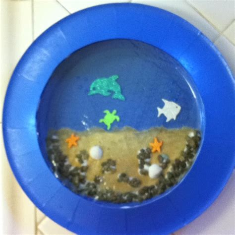 Paper Plate Aquarium Craft - paper plate aquarium dolphin project paper
