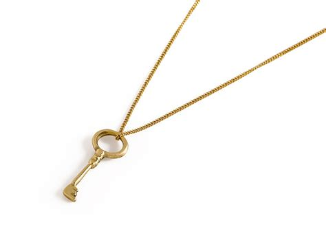 14k gold key charm solid gold key pendant key necklace the