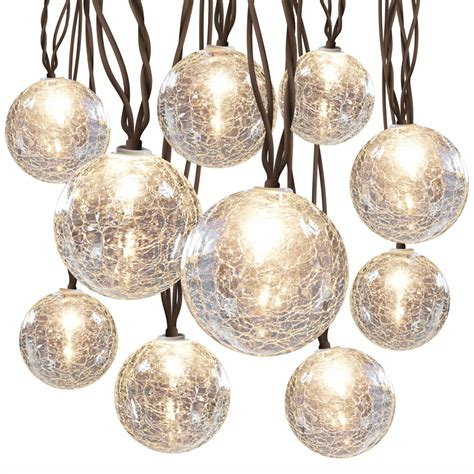 Patio String Lights Lowes Shop Allen Roth 8 5 Ft 10 Light White Crackle Glass Shade In Globe String Lights At Lowes