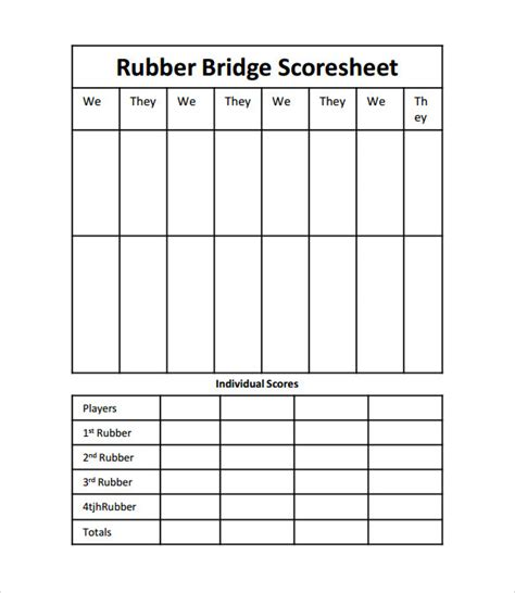 chicago bridge score cards templates bridge score sheet templates 9 sles exles formats