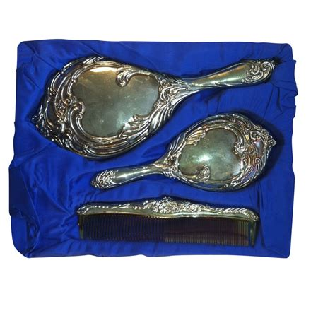 Set Comb Mirror antique silver plated vanity mirror brush and comb set ebay