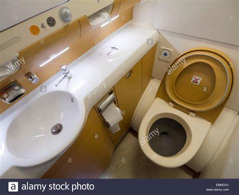 toilet interior airbus a380 airplane toilet interior stock photo royalty