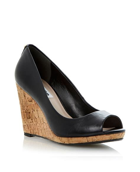 dune celia cork wedge court shoes in black lyst