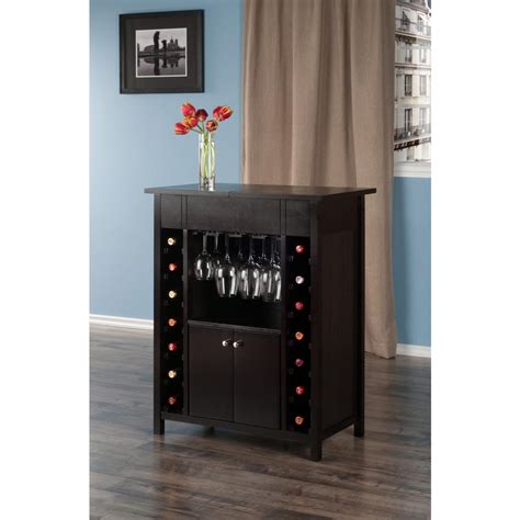 winsome yukon wine cabinet with expandable top espresso winsome wood yukon 14 bottle wine cabinet in espresso