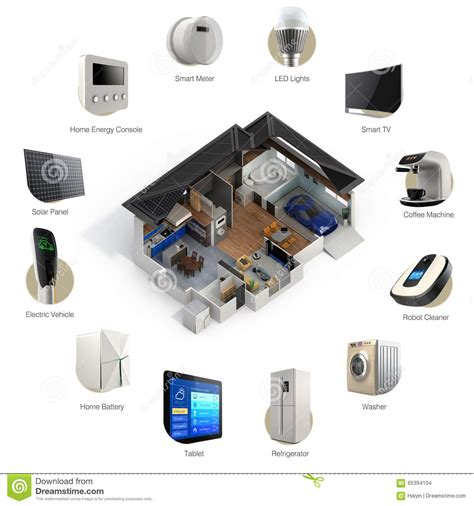 3d infographics of smart home automation technology stock