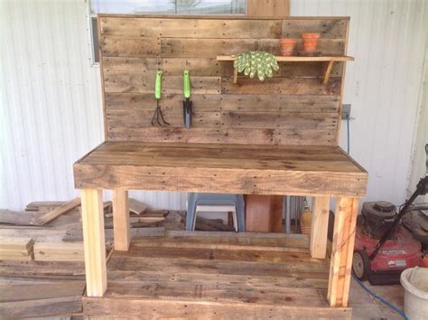 bench made from pallets potting bench made with wooden pallets pallet ideas recycled upcycled pallets