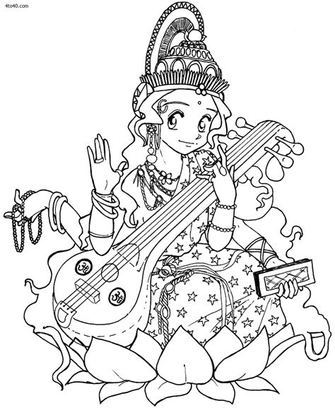 goddess of color coloring goddess learn to draw goddess saraswati