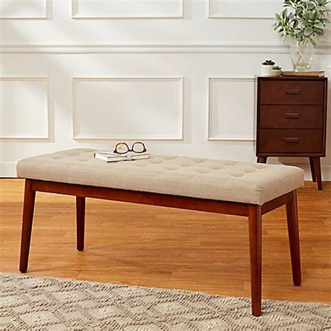 40 inch bench mid century 40 inch tufted linen bench bed bath beyond