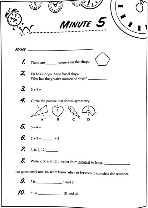 Math Minute Worksheets by 3rd Grade Math Minute Worksheets Telling Time Clock