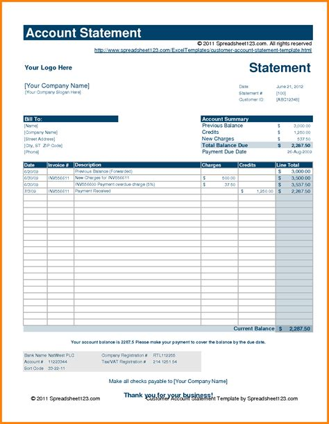 8 Statement Of Account Template Free Case Statement 2017 Bank Account Statement Template