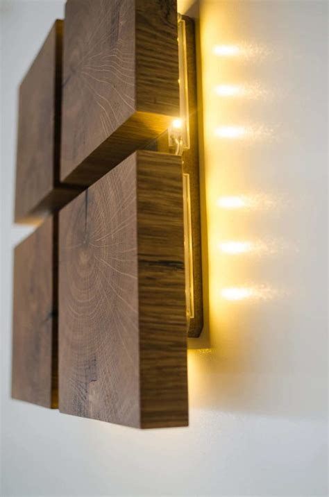 square wooden oak sconce id lights