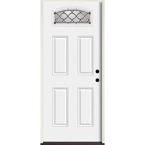Shop Reliabilt Lite Patterned Glass Shop Reliabilt Sheldon 1 4 Lite Decorative Glass Left Inswing Fiberglass Prehung Entry Door