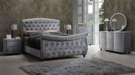 velvet bedroom furniture hudson bedroom in grey velvet fabric w sleigh bed options