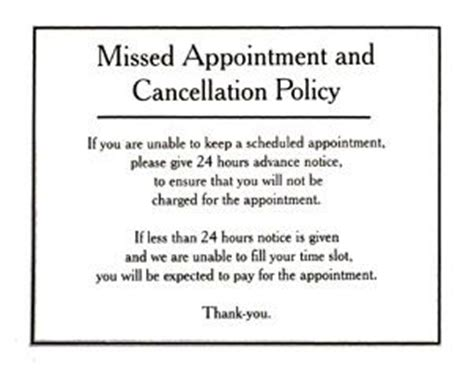 missed appointment and cancellation policy sign door