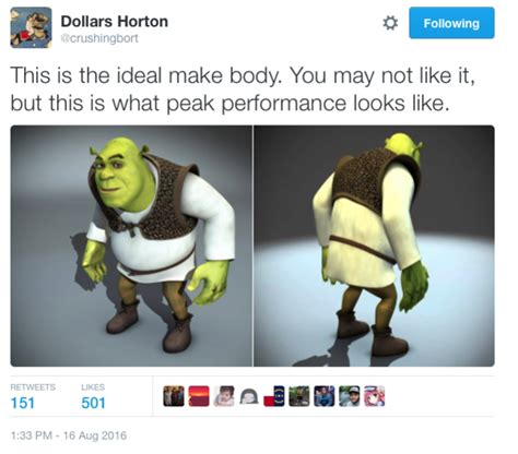 this is what the perfect male body looks like to both men shrek variation quot this is the ideal male body quot know