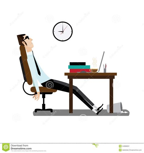 tired office sitting at desk stock vector image