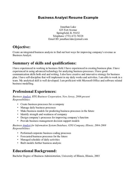 Business Management Resume by Business Admin Resume Free Excel Templates