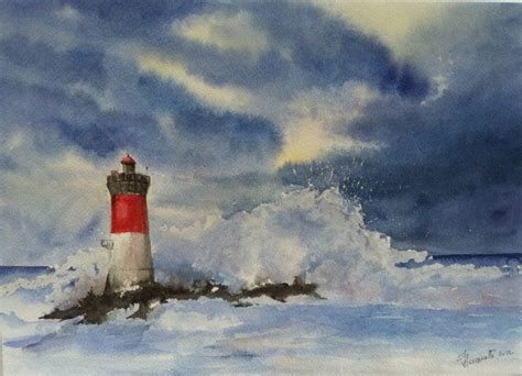 watercolor lighthouse tutorial phare lighthouse aquarelle watercolor watercolour a r t