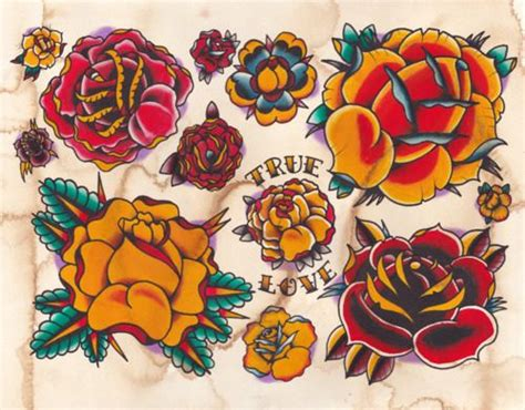 rose tattoo sailor jerry traditional dozen roses traditional