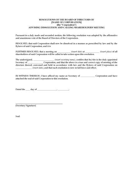 company resolution template canada directors resolution advising dissolution of