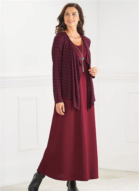 Jacket Maxi knit maxi jacket dress with free necklace amerimark catalog shopping for womens