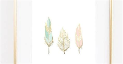 three feathers in blush teal feathers wall art print faux gold foil print