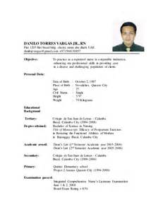Curriculum Vitae Nursing Template by New Resume Danilo Updated 2015 Doc