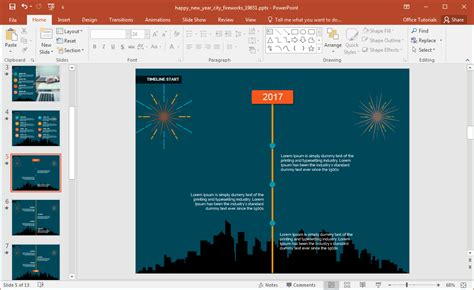 Animated Happy New Year City Fireworks Powerpoint Template Template Animasi Powerpoint