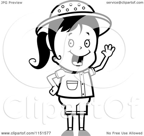 safari person coloring page cartoon clipart of a black and white waving happy safari
