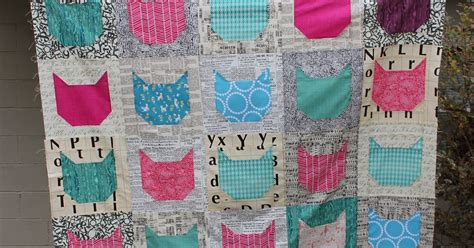 stitching and bacon cat meow quilt