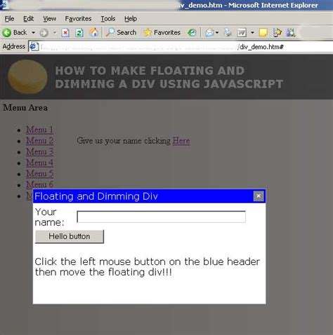 div floating how to make floating and dimming a div using javascript