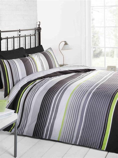 Black And Green Bed Set Cambridge Stripe Modern Duvet Cover Quilt Set Black Grey Blue Ebay