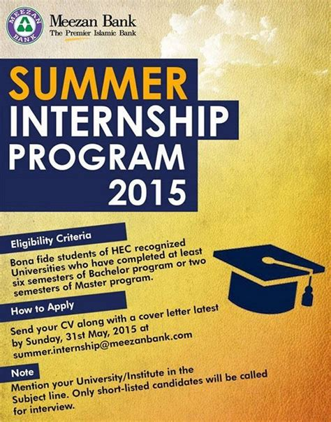 Summer Internship For Mba Students In Banks by Meezan Bank Summer Internship Program 2015 Eligibility