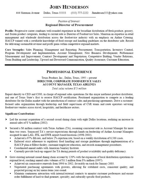 Resume Sle For Procurement Professional Procurement Resume Sles Resume Format 2017