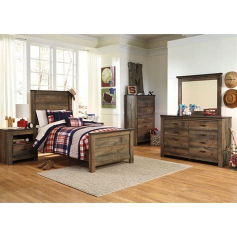 rustic casual contemporary  piece twin bedroom set trinell rc willey furniture store