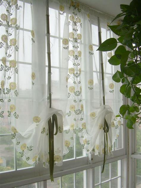 country style embroidered sunflowers sheer voile cafe