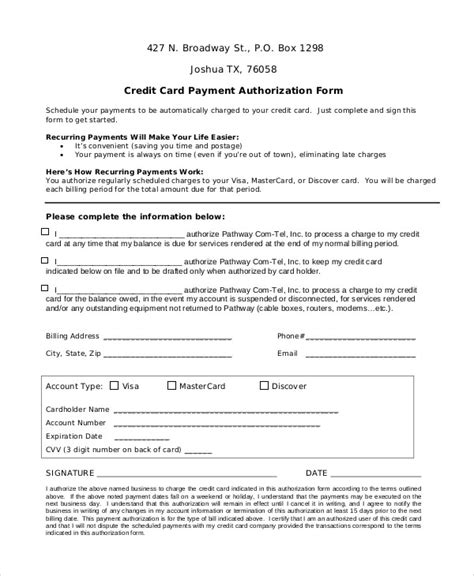 credit card on file form templates credit card authorization form template best business