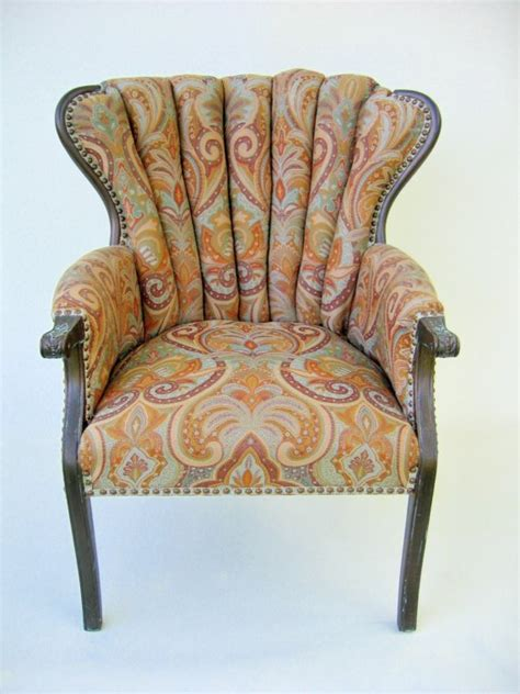 Jacquard Upholstery Redesigned Vintage Channel Back Chair By Fabulouspieces On