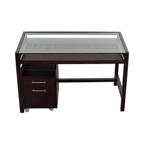 Wood And Glass Desk by 65 Glass Top Brown Wood Desk With File Cabinet Tables