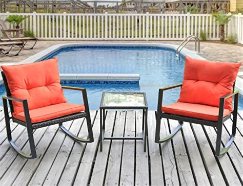 patio zone leisure zone outdoor patio 3 pcs wicker rocking bistro set